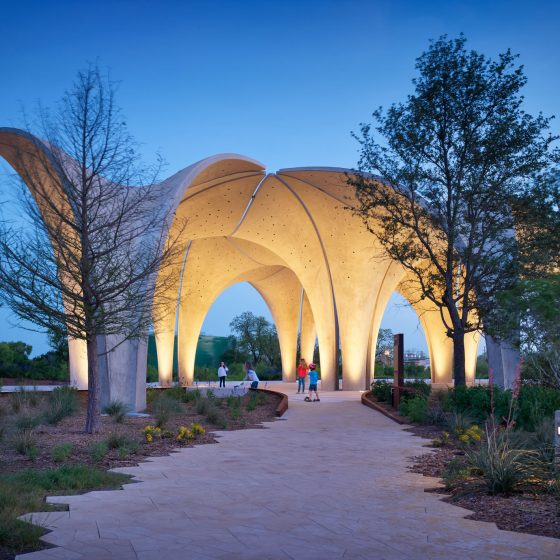 Confluence Park during springtime at night