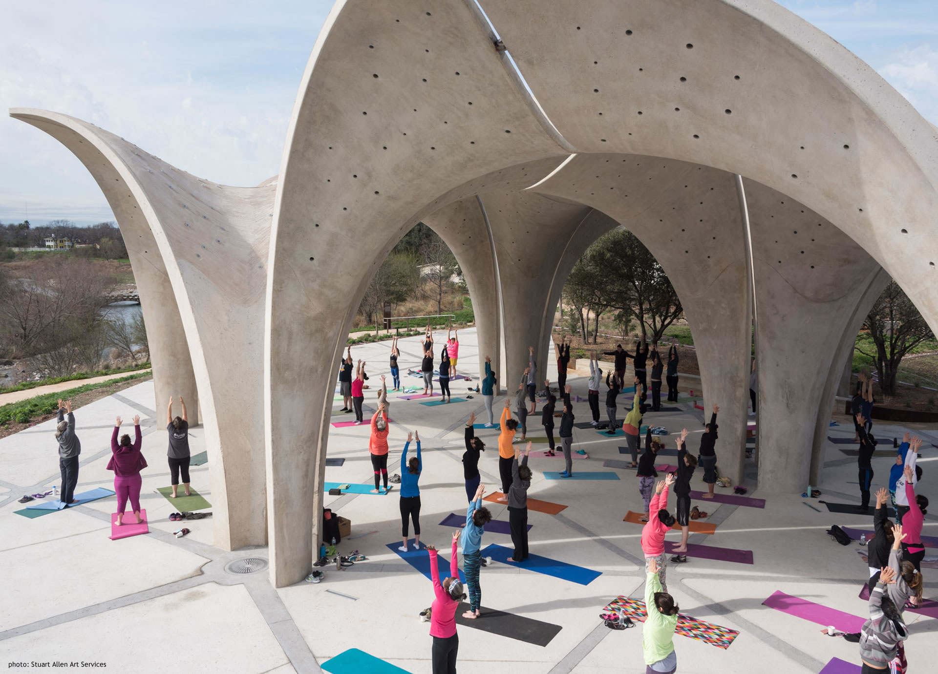 Confluence Park with Large Yoga Class