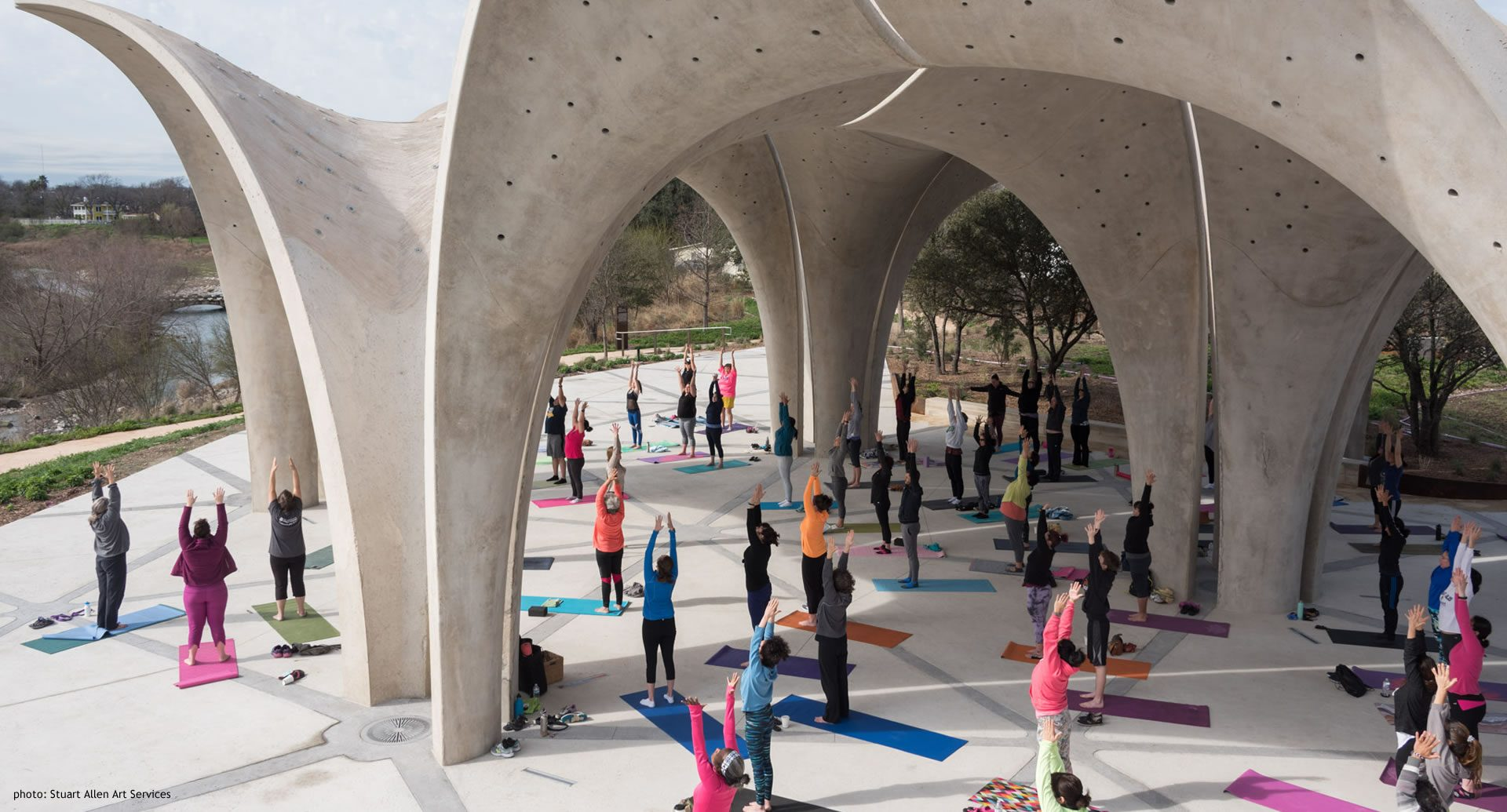 Confluence Park Pavilion with Large Yoga Class